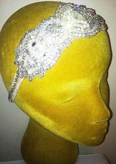 1920s Flapper Style -Crystal, Pearls, Lace and Marabou Feather Headband--NEW YEARS EVE!