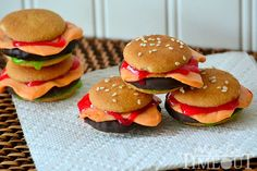 This Cookie Sliders recipe creates cookies that look just like mini cheeseburgers in just minutes! Perfect for April Fool's Day or your next BBQ!
