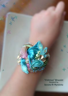 Bracelets Embroidery Designed by Serena Di Mercione --- Shibori silk, swarovski, pearl Ribbon Jewelry, Soutache Jewelry, Beaded Jewelry, Handmade Jewelry, Beaded Bracelets, Jewellery, Silk Ribbon Embroidery, Embroidery Kits, Embroidery Stitches