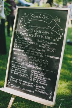 Southern wedding - chalkboard ceremony program, menu, drink labels and bar options