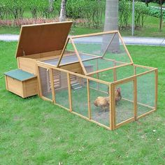 Deluxe Wooden Chicken Coop Poultry Hen House w/ Tractor Run