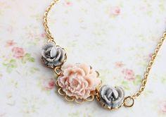 Rose Smoke and Grey Rose Flower Necklace Nature by rosesandlemons, $30.00