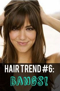 "2013 Hair Trend #6"" Bangin' Bangs! Blunt bangs, wispy, and long - all types of bangs will be in-demand in 2013. Pair bangs with a short-edgy haircut, long waves, or a messy bun!"
