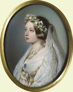 Miniature portrait of Queen Victoria by John Haslem 1848. Shown wearing her wedding day finery, Victoria gave this miniature to Prince Albert on her birthday 24 May 1848. Royal Collection
