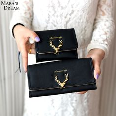Women Wallet Deer Girl Clutch Coin Purse Pu Leather Portomonee Vintage  Luxury Cash Purses Long Short Sac Cover for Student Card 567dbbf5e373