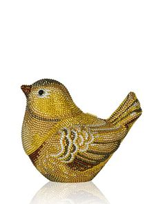 """Judith Leiber Couture evening clutch bag. Goldfinch bird motif encrusted in signature Austrian crystals. Delicate chain strap may be tucked inside, 9"""" drop. Hard-shell body with hinge clasp. Lambskin"""