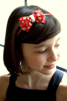 Red Baby Headband, Red Girl headband Toddler headband Red Bow Headband Pearls on a Satin Headband, Girl's Headband, Girls Headbands, Pearls