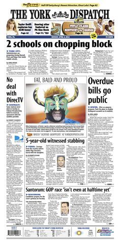York Dispatch front page for April 2, 2012
