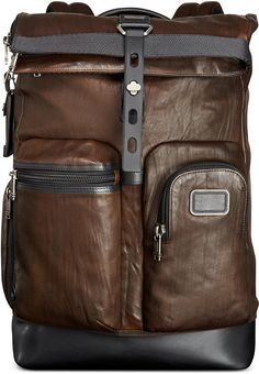 Tumi Alpha Bravo Luke Roll-Top Leather Backpack