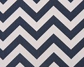 Designer Curtains - Pair of Decorative Designer Custom Curtains Drapes  50 x 96 Navy Blue and White Chevron Zig Zag with Grommets. $190.00, via Etsy.