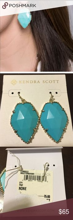 Kendra Scott turquoise earrings Really beautiful Kendra Scott turquoise earrings brand new. Color is more towards blue. And edges are very dull gold and silver mix. Kendra Scott Jewelry Earrings