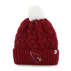 c75ae1455b6 Arizona Cardinals  47 Brand Womens Fiona Cuff With Pom Knit Beanie -  Cardinal. Cardinals HatNfl ...