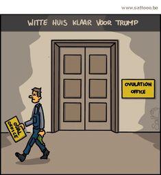 Thema van de cartoon op deze pagina: Het witte huis is klaargestoomd om Trump te ontvangen, klik op de cartoon om naar de volgende te gaan