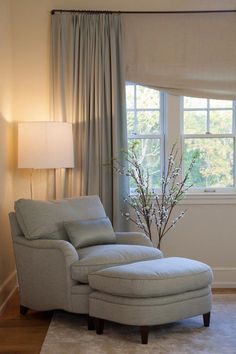 Would love a chair/stool just like this, right down to the lovely soft blue color. I'd put it in our bedroom where I could get away to curl up with a book. via House of Turquoise Living room chairs Bedroom Seating, Bedroom Sofa, Home Decor Bedroom, Bedroom Ideas, Bedroom Furniture, Furniture Ideas, Bedroom Colors, Furniture Chairs, Chaise Lounge Bedroom