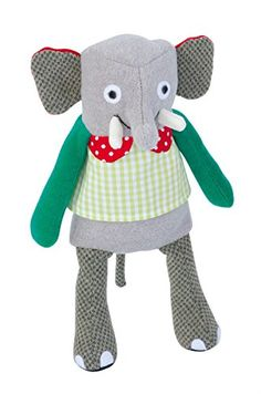 This Moulin Roty elephant doll features a grey fleece body and red velour ears. He wears a green top layered beneath a gingham cotton over-shirt with a red and white polka dot collar. Measuring ...