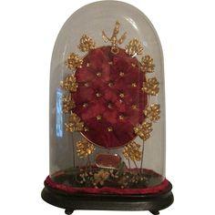 Antique French Globe De Mariee Wedding Display Birds Flowers Cloche Glass Dome