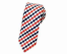 A little red and black colors in the form of gingham in this white based skinny tie will surely complete your look. The pattern will surely add an instant style to any of your outfit, whether it maybe formal or casual, this will surely freshen your mood. Ties Online, Skinny Ties, Neckties, Wedding Men, Out Of Style, Little Red, Red Black, Gingham, Going Out