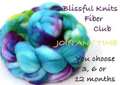 fiber club - hand dyed luxury wool, silk or bamboo roving - 12 month membership - blissful knits club Types Of Fibres, 12 Months, Fiber, Club, Wool, Knitting, Knits, Coupons, Bamboo