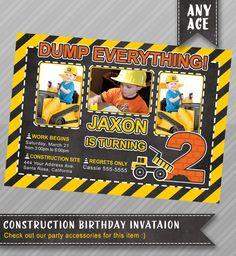 Construction birthday invitation chalkboard Construction birthday