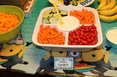 Food table, Grus garden, veggie tray, minion party, despicable me party