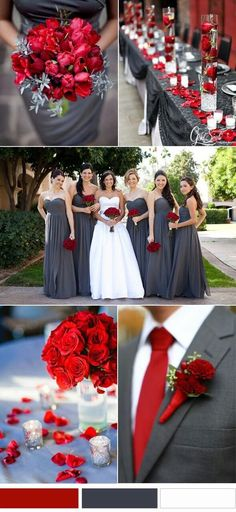 Fall wedding colors classic red and grey wedding color inspirations Gray Wedding Colors, Popular Wedding Colors, Wedding Color Schemes, Red Grey Wedding, Colour Schemes, Color Combinations, Country Wedding Colors, Charcoal Wedding, Popular Colors