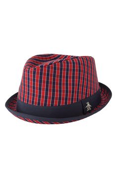 Free shipping and returns on Original Penguin 'Mini Check Porkpie' Fedora at Nordstrom.com. A bold gingham motif patterns a crisp cotton fedora styled with grosgrain ribbon trim and playful penguin embroidery.