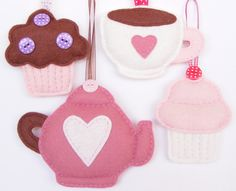 PDF pattern - Set of four felt ornaments - teapot, teacup, muffin and cupcake - DIY felt decorations, Xmas or Valentines ornaments, via Etsy