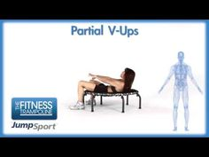 JumpSport Fitness Trampoline Workouts - Partial V-Ups - YouTube
