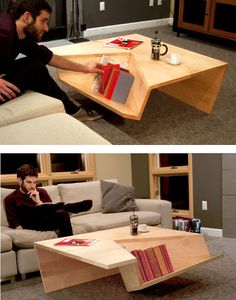 Cool table, this would be even cooler if on the other side of the books it slanted our, so that you would sit on the ground and lean against it.