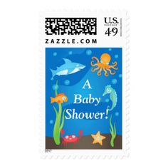 Vibrant Under the Sea Baby Shower Postage Stamps