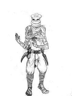 Character sketch for Vethos, a Kasatha monk from Pathfinder rpg. Mechanical pencil on sketch pad.  Artist: Grant Goddard 2016. #sketch #pathfinder #kasatha #fantasy