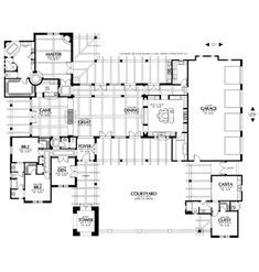 Ranch House Plan with 4 Bedrooms and Baths - Plan 1245 Ranch House Plans, Dream House Plans, House Floor Plans, Story Planning, Courtyard House Plans, House Information, One Story Homes, Bedroom Floor Plans, Story House