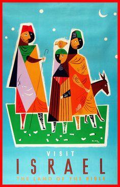 Visit Israel Vintage Travel Poster 1953 artist Jean David