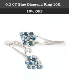 0.2 CT Blue Diamond Ring 10K White Gold Size 7. 0.2 CT Blue Diamond Ring 10K White Gold Size 7.