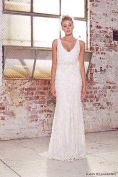 kwh by karen willis holmes 2015 bridal sleeveless v neck beaded ribbon belt sheath wedding dress aster