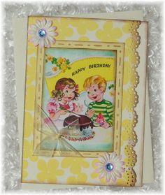 Set of 3 handmade RETRO BIRTHDAY 01  cards & by croppinrobin72, $7.50