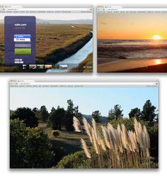 capturas de pantalla del sitio web. Se ven fotos de paisajes naturales