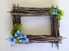 Make a twig frame from twigs found in your backyard.