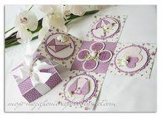 Pudełko dla dziewczynki jako prezent na chrzest święty.  Całość jasno-fioletowa :) Paper Purse, Exploding Boxes, Pop Up Cards, Wedding Cards, Place Cards, Paper Crafts, Gift Wrapping, Scrapbook, Diy