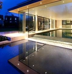 Contemporary window, private swimming pool, UK