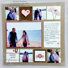 stampin up first sight scrapbooking layout 2 blushing bride vintage color blocking