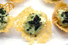 Cheddar Cups with Avocado Feta Mousse -- A fun and flavorful party appetizer | wearenotmartha.com