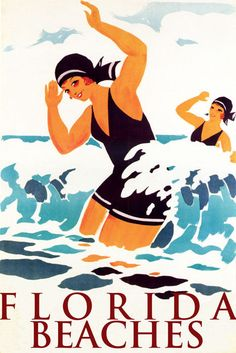 GIRLS SWIM SWIMMING FLORIDA BEACHES VACATION TRAVEL TOURISM VINTAGE POSTER REPRO #Vintage