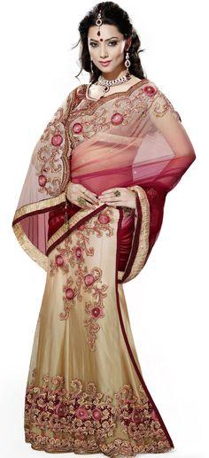 Beige Net Lehenga Style #Wedding #Saree   @ $131.69