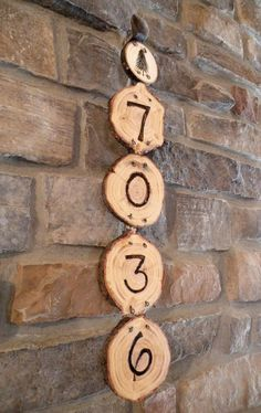Wooden Wood Burned Pine Tree House Numbers