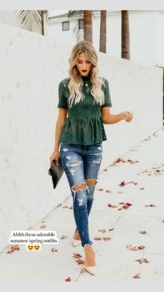 Peplum Top Outfits, Mom Outfits, Classy Outfits, Stylish Outfits, Spring Outfits, Fashion Outfits, Peplum Tops, Casual Date Night Outfit Summer, Green Outfits For Women