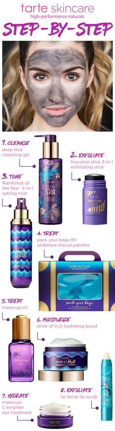 Step up your skin care game with our #tarteskin collection! Cleanse, exfoliate, treat and hydrate! We've got you covered! #tartecosmetics #tarteunderthesea Tarter i my fave!