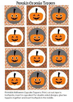 Free: Cute Halloween Pumpkin Cupcake Toppers