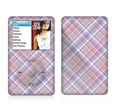 The Pink and Blue Layered Plaid Pattern V4 Skin For The Apple iPod Classic