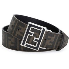 Fendi Reversible Zucca-Print Enamel-Buckle Belt ($550) ❤ liked on Polyvore featuring men's fashion, men's accessories, men's belts, fendi mens belt and men's reversible belt